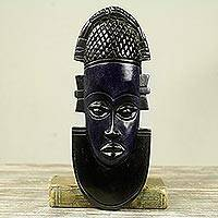 African wood mask, 'Dark Queen Idia' - Hand Carved and Painted African Wood Mask
