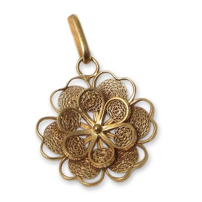Gold plated filigree flower pendant, 'Yellow Rose' - Gold Plated Silver Peruvian Filigree Flower Pendant