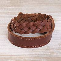 Leather braided wristband bracelet, 'Elegant Lasso in Russet' - Leather Braided Wristband Bracelet in Russet from Peru