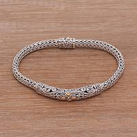 Gold accent sterling silver pendant bracelet, 'Elegant Braid'