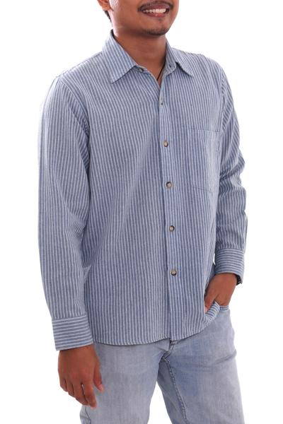 Men's long-sleeved cotton shirt, 'Pacific Ocean' - Blue Striped Long-Sleeved Men's Cotton Shirt from Guatemala