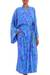 Batik rayon robe, 'Mystery Grove' - Blue and Green Batik Leaf Long Sleeved Rayon Robe with Belt (image 2b) thumbail