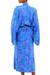 Batik rayon robe, 'Mystery Grove' - Blue and Green Batik Leaf Long Sleeved Rayon Robe with Belt (image 2c) thumbail