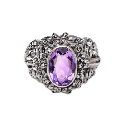Men's amethyst ring, 'Beloved Barong' - Men's Amethyst and Sterling Silver Ring