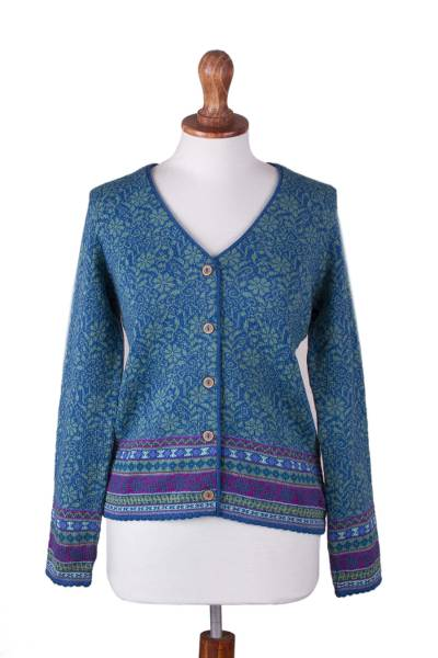 100% alpaca cardigan, 'Spirit of the Andes' - Soft Alpaca Button Up Cardigan Sweater from Peru