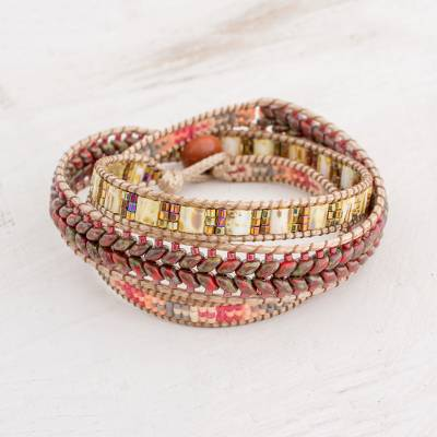 Glass beaded wrap bracelet, 'Eternal Hope' - Handcrafted Glass Beaded Wrap Bracelet from Guatemala