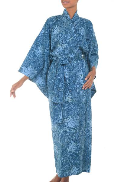 Cotton batik robe, 'Blue Forest' - Artisan Crafted Long Batik Cotton Robe for Women
