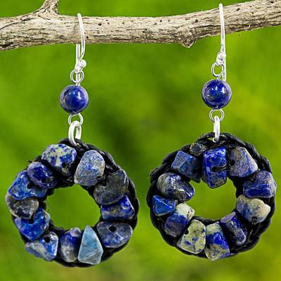 Lapis lazuli dangle earrings, 'Blue Summer' - Lapis Lazuli Wreath Dangle Earrings Handmade in Thailand