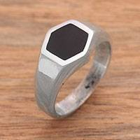 Sterling silver signet ring, 'Simple Hex'