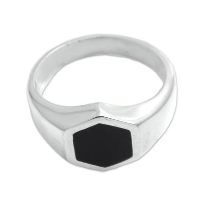 Sterling silver signet ring, 'Simple Hex' - Hexagon Sterling Silver Signet Ring Crafted in Bali