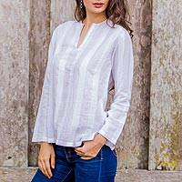 Cotton tunic, 'Cool Relax in White Brown' - Brown Stripes over White Cotton Tunic from Thailand