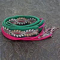 Beaded cotton tie belt, 'Emerald Glamour'