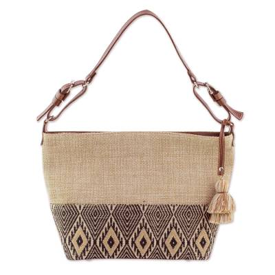 Leather accent cotton shoulder bag, 'Maya Ixcaco' - Leather-Accented All Cotton Maya Style Shoulder Bag
