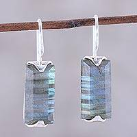 Labradorite drop earrings, 'Beautiful Aurora'