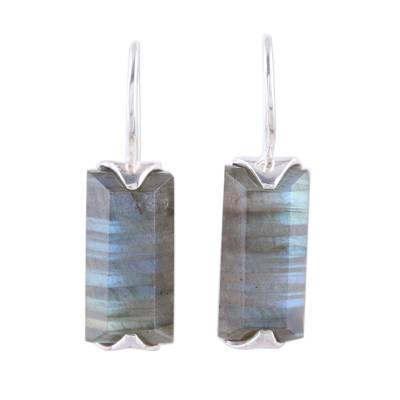 Labradorite drop earrings, 'Beautiful Aurora' - 12-Carat Labradorite Drop Earrings from India