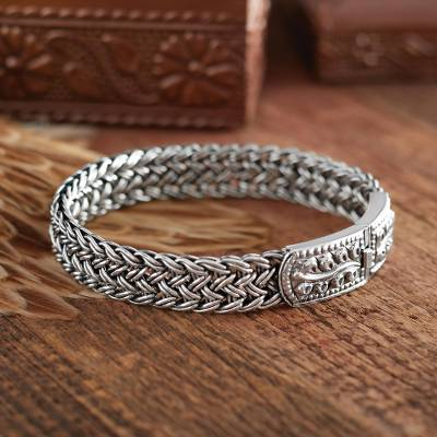 Sterling silver wristband bracelet, Mayom Tree