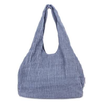 100% Cotton Textured Shoulder Bag in Taupe from Thailand