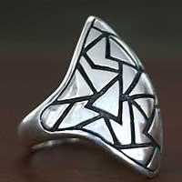 Men's sterling silver domed ring, 'Pyramidal Puzzle' - Men's sterling silver domed ring