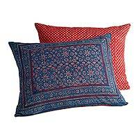 Cotton pillow shams, 'Rajasthani Remembrance' (pair) - Pair of Standard Cotton Pillow Shams in Red and Blue