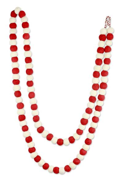 Wool Christmas tree garland, 'Candy Cane Pompoms' - Red and White Handmade Felt Holiday Garland