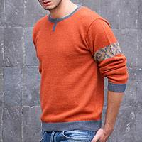 Men's 100% alpaca sweater, 'Chakana Wanderer'