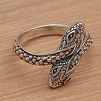 Sterling silver wrap ring, 'Infinity Snakes' - Hand Made Sterling Silver Snake Wrap Ring from Indonesia
