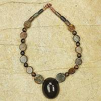 Tiger's eye beaded necklace, 'Ahemaa Tumi' - Horn Pendant on Tiger's Eye Soapstone Beaded Necklace