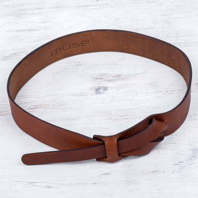 Leather belt, 'Classical' - Artisan Crafted Natural Brown Leather Belt from Peru