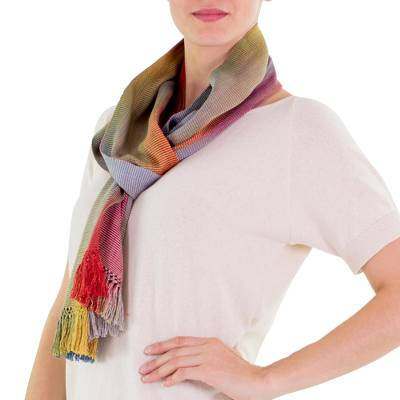 Rayon chenille scarf, 'Solola Afternoon' - Rayon Chenille Scarf Woven by Hand