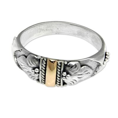 Gold accent band ring, 'Frangipani Aura' - Handmade Silver and 18k Gold Ring