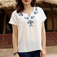 Viscose blouse, 'Demure Beauty' - White Viscose Blouse with Embroidery from India