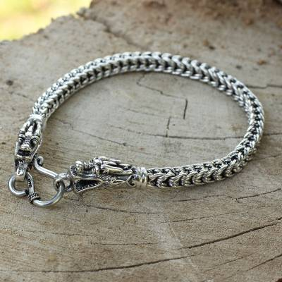 Sterling silver braided bracelet, Dragon Art