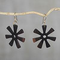 Ebony dangle earrings, 'Fofoo Flower' - Ebony Wood Adinkra Flower Dangle Earrings from Ghana