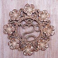 Wood relief panel, 'Jepun Om' - Hand Crafted Wood Wall Relief with Om Symbol and Flowers