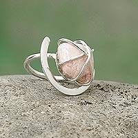 Rhodonite single stone ring, 'Hold Me' - Rhodonite single stone ring