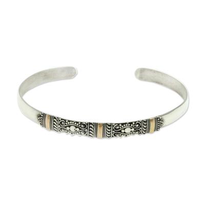 Gold accent cuff bracelet, 'Vine Tendrils' - Silver Bracelet with 18k Gold Accents