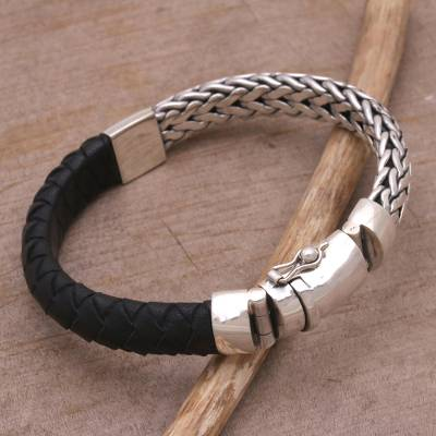 Leather and sterling silver wristband bracelet, Bali Valor