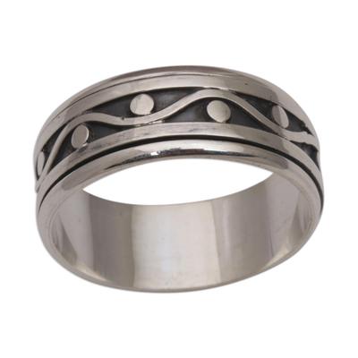 Sterling silver meditation spinner ring, 'Stream of Life' - 925 Sterling Silver Unisex Spinner Meditation Ring from Bali