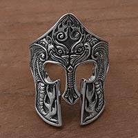 Men's sterling silver cocktail ring, 'Brawijaya Mask'