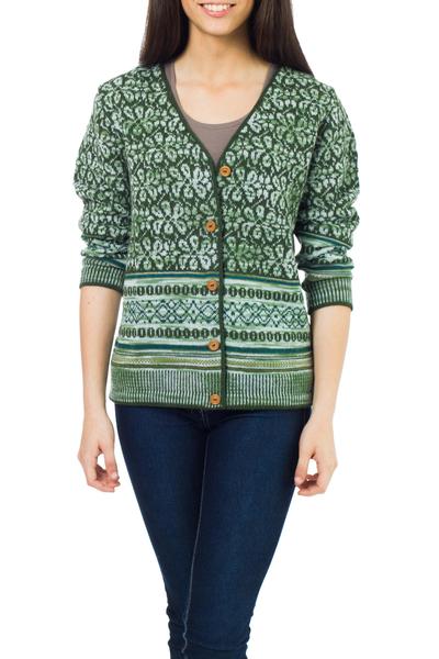 100% alpaca cardigan, 'Andean Horizon' - Fair Trade Alpaca Wool Cardigan Sweater