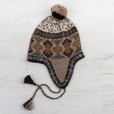 100% alpaca chullo hat, 'Andean Patterns' - 100% Alpaca Chullo Hat in Tan and Eggshell from Peru