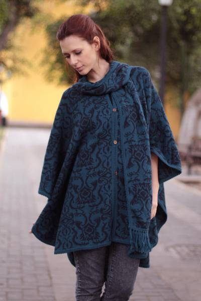 Reversible alpaca blend ruana, 'Peruvian Wildflower in Blue' - Unique Women's Alpaca Wool Blend Patterned Poncho