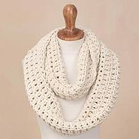 Wool infinity scarf, 'Antique White Winter' - Hand-Crocheted Wool Antique White Infinity Scarf from Peru
