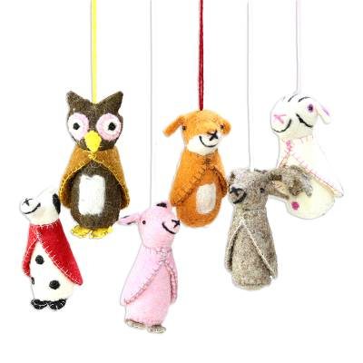 Wool felt ornaments, 'Winter Animals' (set of 6) - Animal-Themed Wool Ornaments from India (Set of 6)