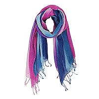 Cotton scarves, 'Innocent Colors' (pair)