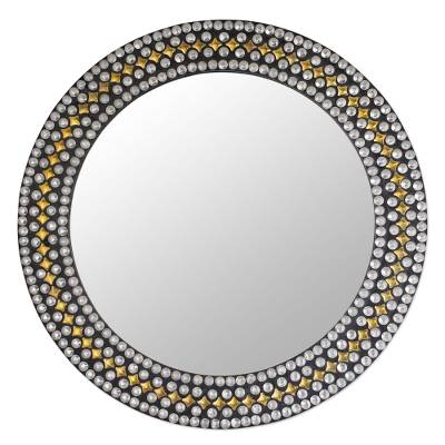 Round wall mirror, 'Modern Flair' - Handcrafted Studded Round Wall Mirror with Metal Accents