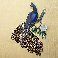 Steel wall art, 'Sapphire Peacock'