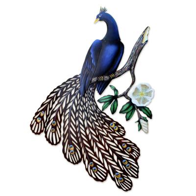 Steel wall art, 'Sapphire Peacock' - Unique Bird Wall Sculpture