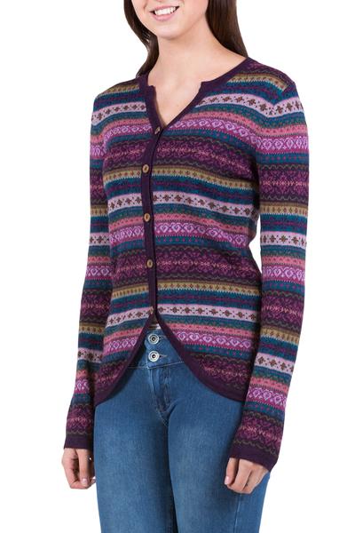 100% alpaca cardigan, 'Berry Style' - Purple Pink Alpaca Cardigan with Geometric Patterns