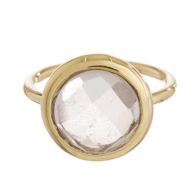 Gold plated quartz single stone ring, 'Magic Pulse' - Gold Plated Quartz Single Stone Ring from Peru